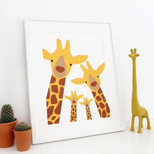Giraffe Family Selfie, Personalised A3 Print - prints & art sale