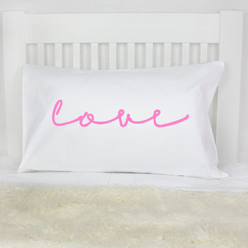 'Love' Neon Sign Pillow Case