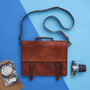 Leather Multi Compartment Messenger Bag