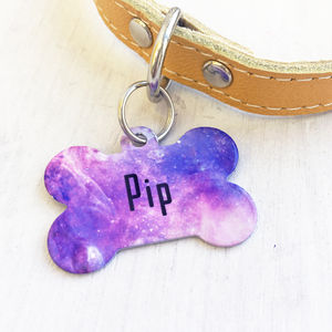 Personalised Pet ID Name Tag Pastel Universe Bone - dogs