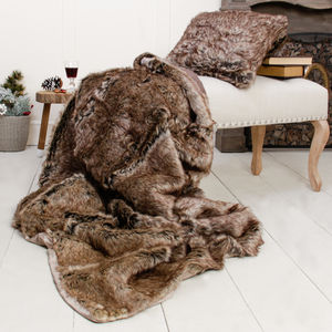 Forest Bear Faux Fur Throw And Cushion Gift Selection - blankets & throws
