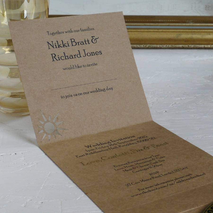 Bespoke Laser Cut Wedding Venue Invitation bespoke