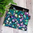 Peacock Butterfly Velvet Zip Bag