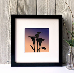 Cara Lillies Silhouette Framed Giclee Print - canvas prints & art