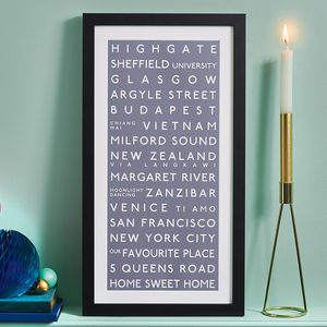 Personalised Destination Print - gifts for him