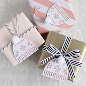 Papercut Bobble Hat Gift Tags