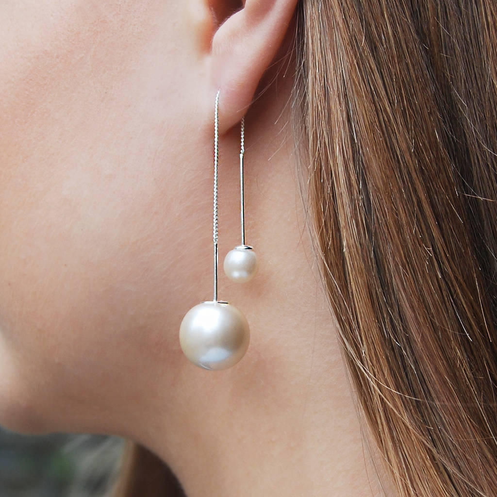 Large Pearl In Front Alternative Way To Wear Chain Silver Threader Earrings