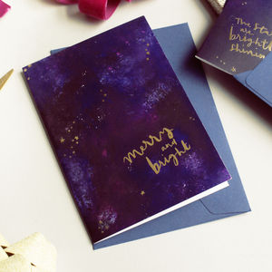Gold Star Galaxy Christmas Card Merry And Bright - cards