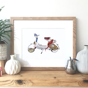 Vespa Scooter Hand Drawn Illustration - posters & prints