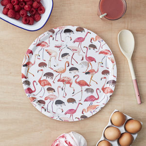 Flamingo And Hedgehog Round Tray - tableware
