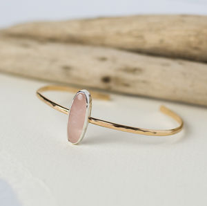Rose Quartz Bangle - semi precious stones