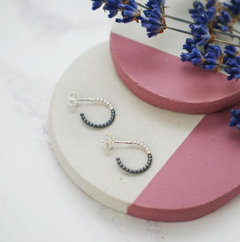 Mini Two Colour Beaded Hoops