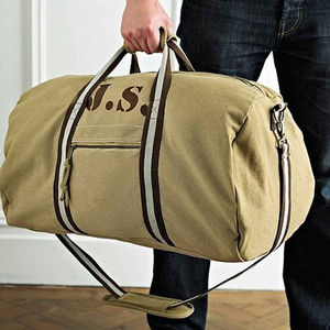 personalised canvas holdall bag by sparks clothing ...