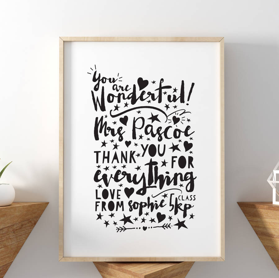 you are wonderful thank you teacher print - Teacher Pictures To Print