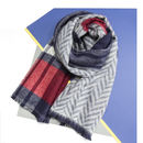 Personalised Reversible Tartan And Herringbone Shawl