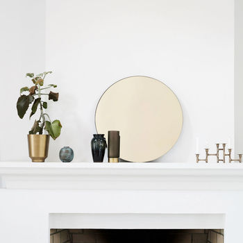 Gold Glass Round Wall Mirror