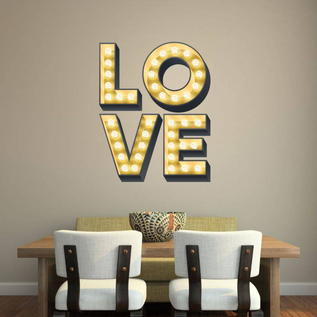 Light Up Letters For Wall Beauteous Love Light Up Letters Effect Wall Stickerkapow Boom Graphics Inspiration