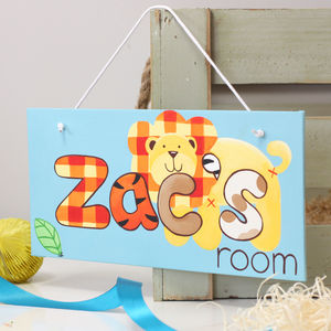 Personalised Jungle Lion Canvas Sign - children's pictures & paintings