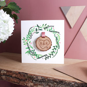 Engraved Tree Slice Keepsake Card - personalised