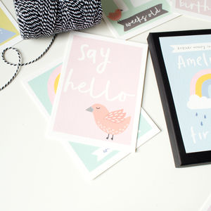 My First Year Keepsake Personalised Keepsake Card Set - new baby gifts