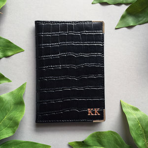 Black Embossed Leather Monogram Passport Holder - fashion sale