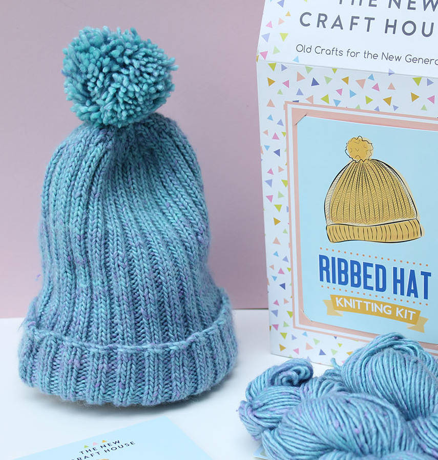 ribbed bobble hat knitting kit by the new craft house ...