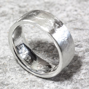Personalised Sterling Silver 8mm Flat Sand Cast Ring - rings
