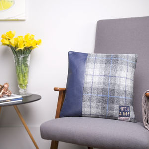Leather And Harris Tweed Strip Design Cushion - decorative accessories