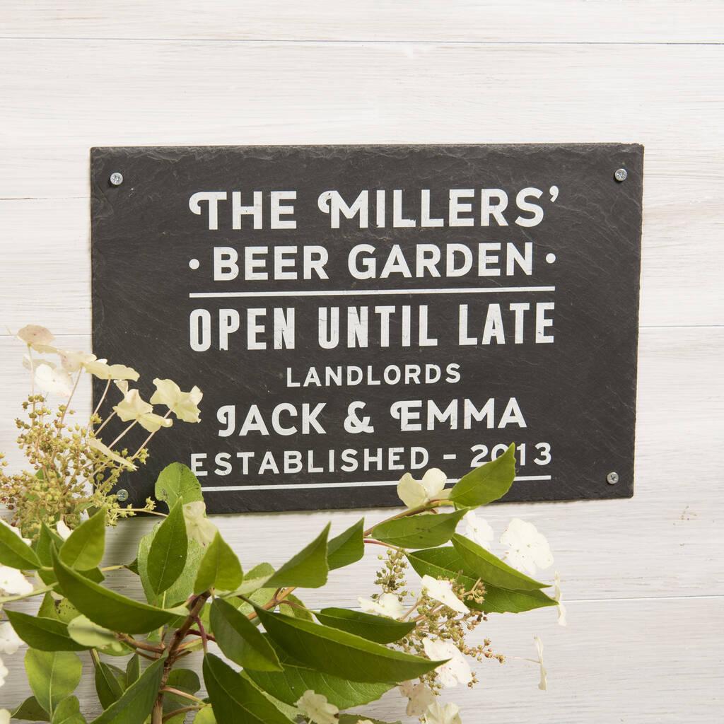 Personalised Beer Garden Slate Sign By Oakdene Designs Notonthehighstreet Com
