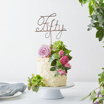 Fifty Wire Birthday Cake Topper