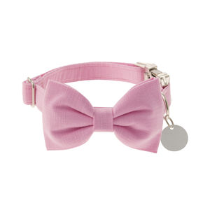 Candy Pink Bow Tie Dog Collar - dog collars