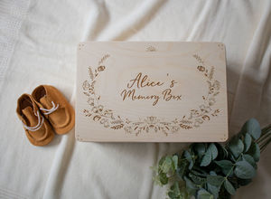 Personalised Memory Box With Floral Design