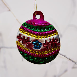 Mexican Pressed Metal Bauble Decorations - decorative accessories