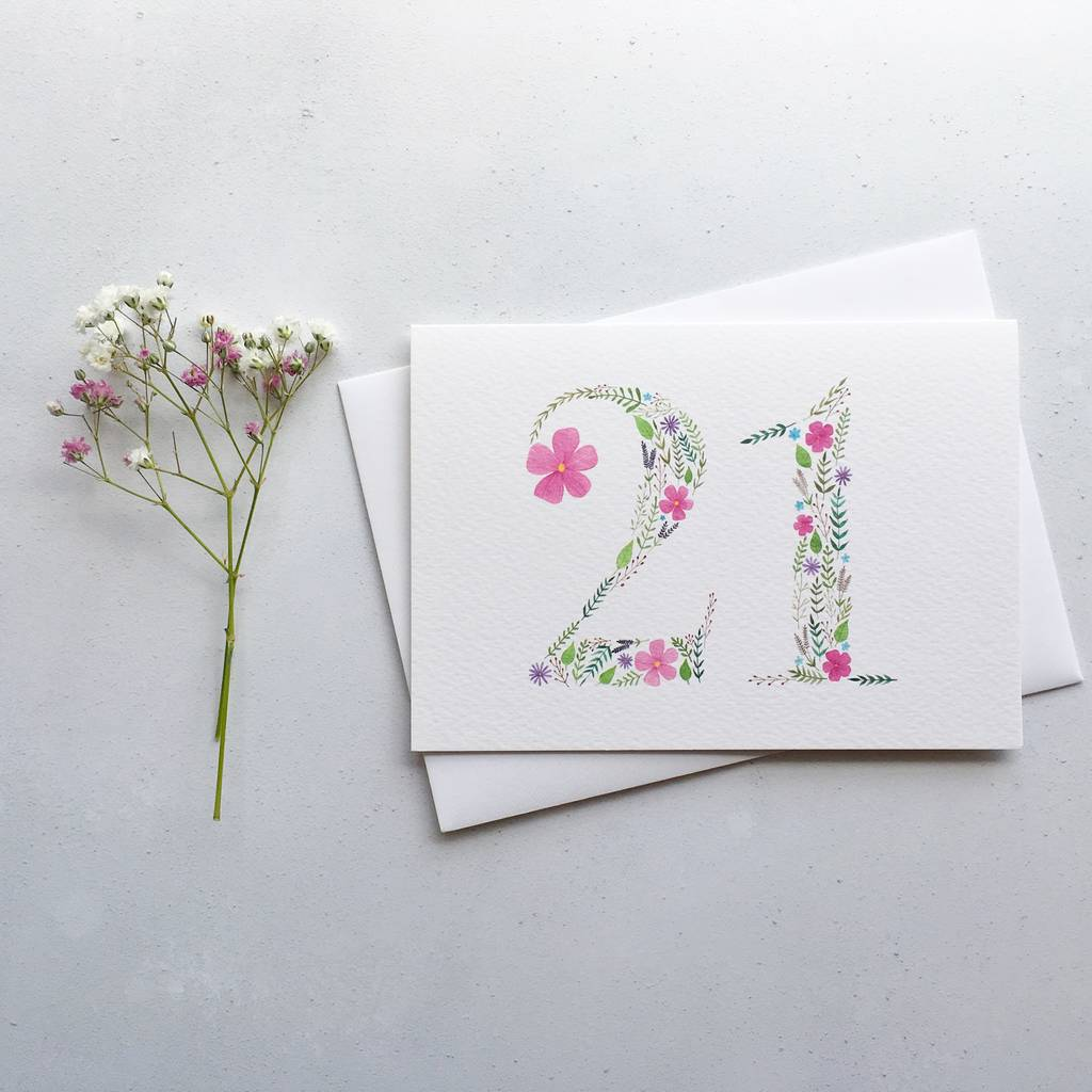 21st Floral Birthday Card