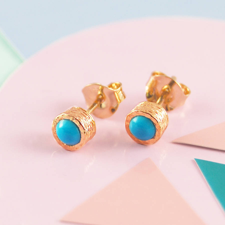 Blue Turquoise December Birthstone Rose Gold Studs