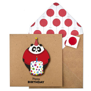 Birthday Cake Panda 3D Personalised Card - new home cards