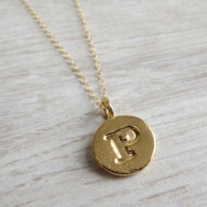 Gold Embossed Letter Necklace