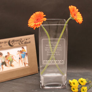 Rectangular Engraved Vase - flowers, plants & vases
