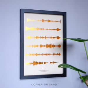 Personalised Metallic Favourite Song Sound Wave Print - gifts for her