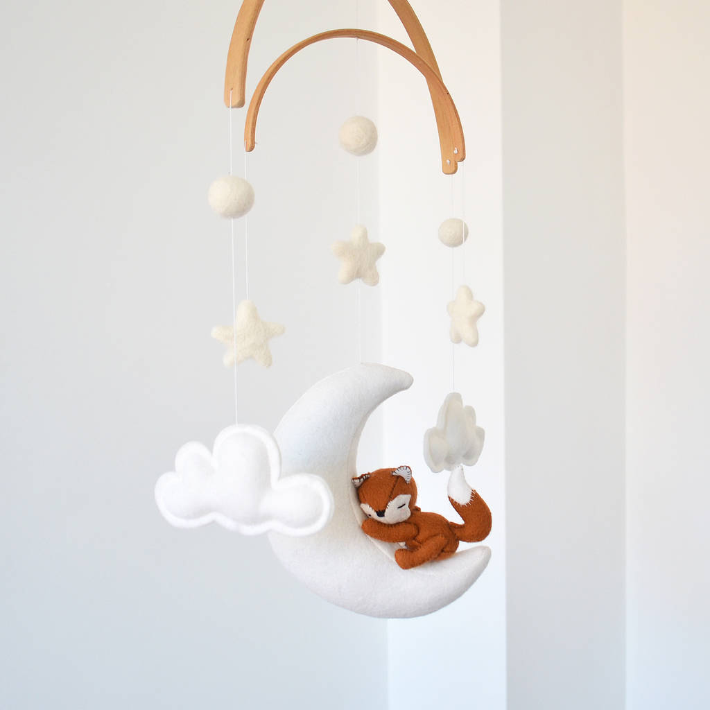 Sleeping Fox With Moon And Stars Baby Mobile By What A