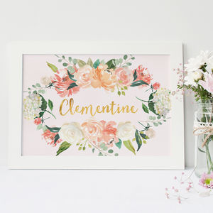 Personalised Baby Name Gold Foil Floral Print - christening gifts