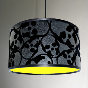 Flocked Skulls Handmade Lampshade With Neon Linings - lamp bases & shades