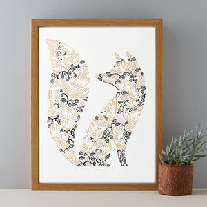 Fox And Birds Gold And Black Woodland Print