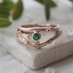 Rose Gold And Emerald Engagement Ring Set - may birthstone