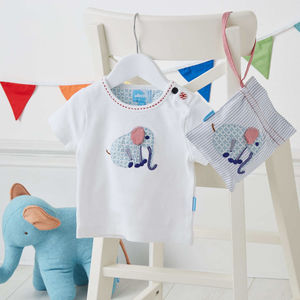 Patchwork Elephant T Shirt In Gift Bag