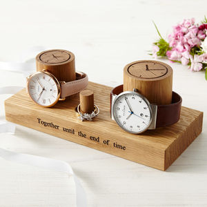 Personalised Couple's Wooden Jewellery Stand - watch storage