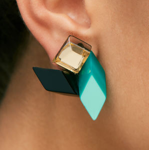 Emerald Green Geometric Earrings - fashion jewellery