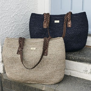 'Cyprus' Hand Crocheted Raffia Shoulder Bag - bags