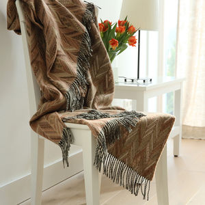 Merino Wool Throw Brown Marcello - throws, blankets & fabric