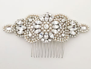 Vintage Style Pearl And Diamante Comb - bridal hairpieces